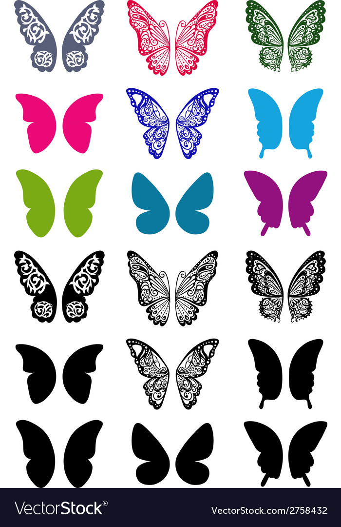 Butterfly wings set vector | Price: 1 Credit (USD $1)