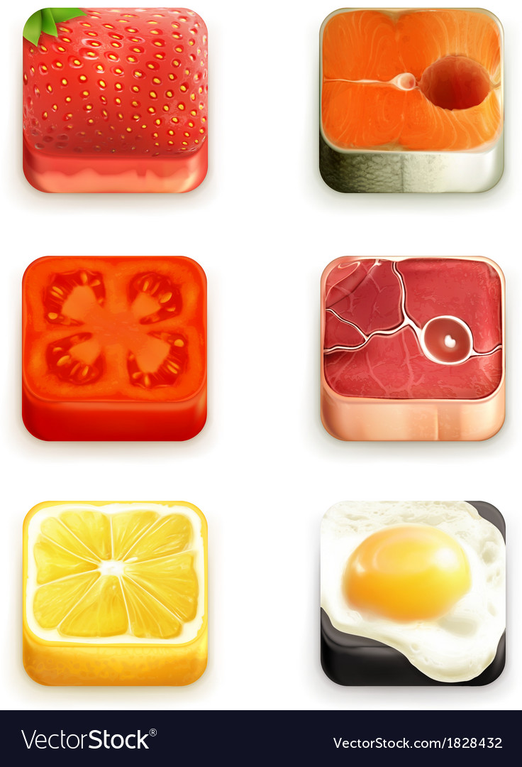 Food app icons set vector | Price: 3 Credit (USD $3)