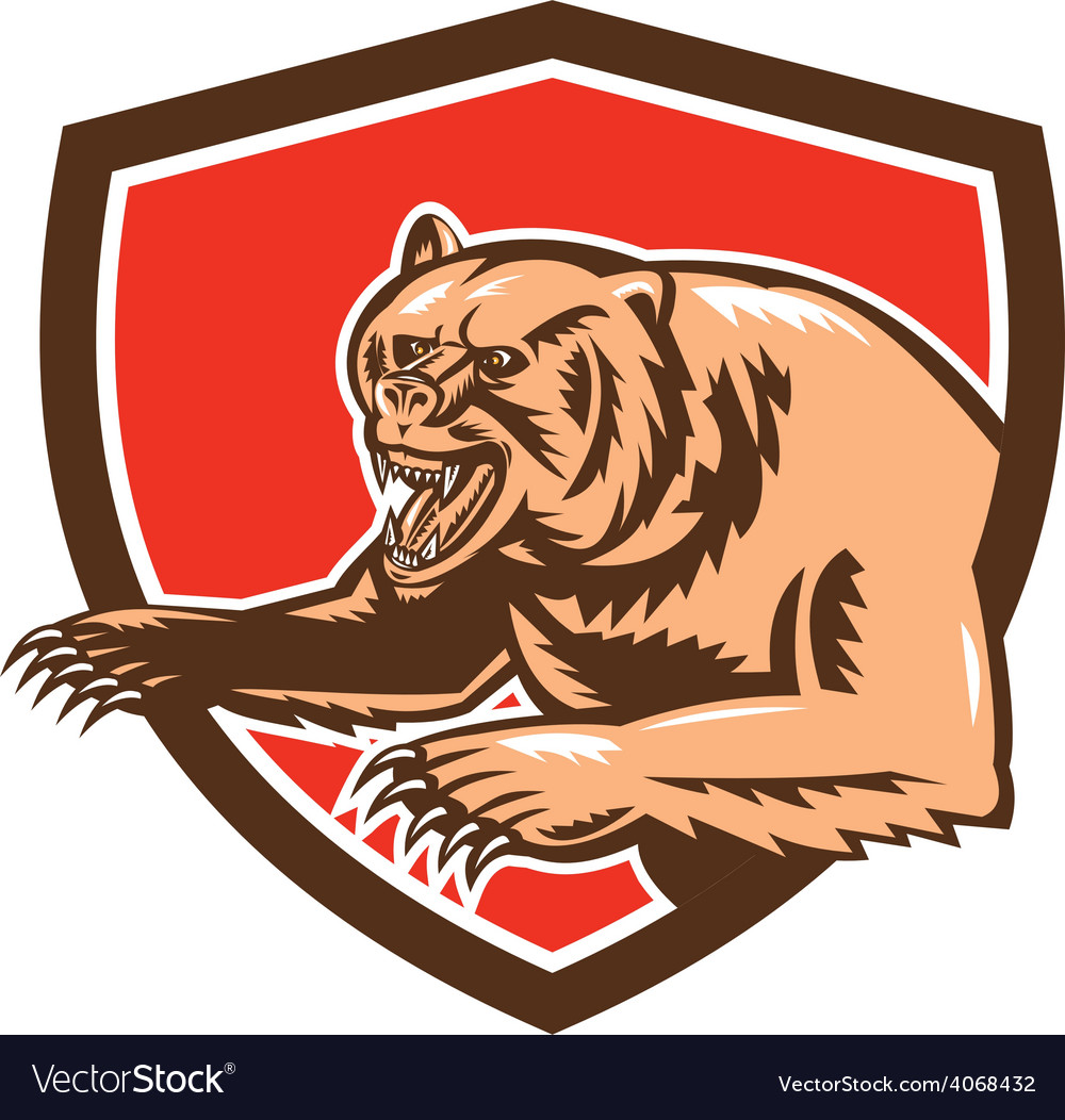 Grizzly bear angry shield retro vector | Price: 1 Credit (USD $1)