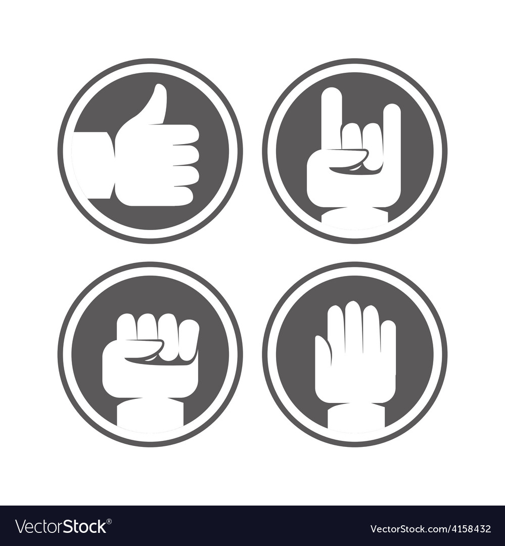 Hands and gestures signs in black and white colors vector | Price: 1 Credit (USD $1)