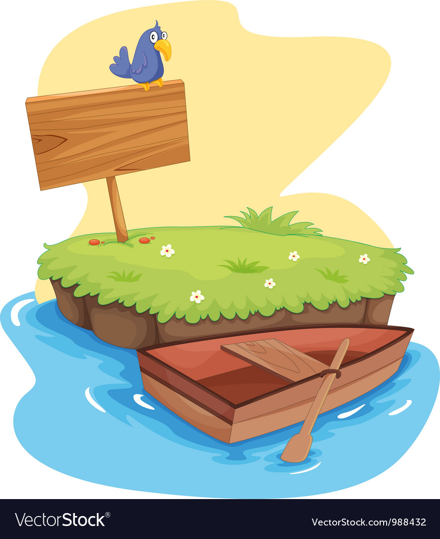 Island with dinghy vector | Price: 1 Credit (USD $1)