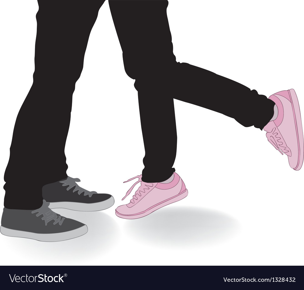 Legs kissing lovers vector | Price: 1 Credit (USD $1)