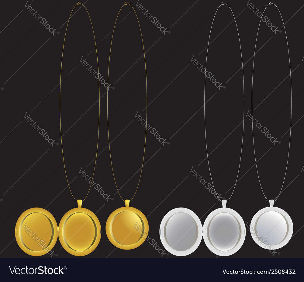 Locket and medallion necklaces in silver and gold vector | Price: 1 Credit (USD $1)