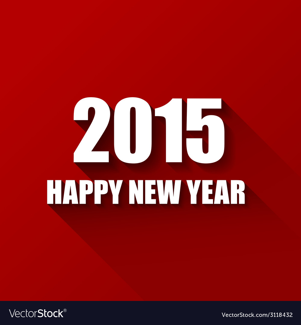 Modern red simple happy new year card 2015 vector | Price: 1 Credit (USD $1)