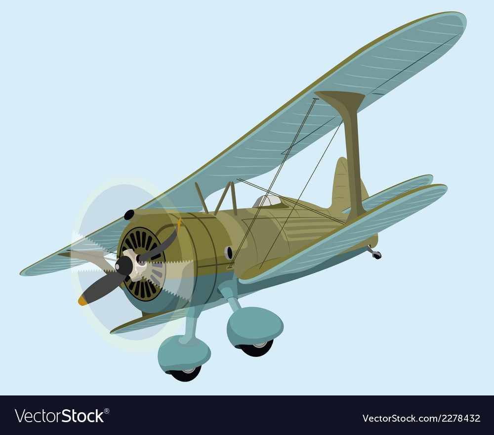 The old plane biplane vector | Price: 1 Credit (USD $1)