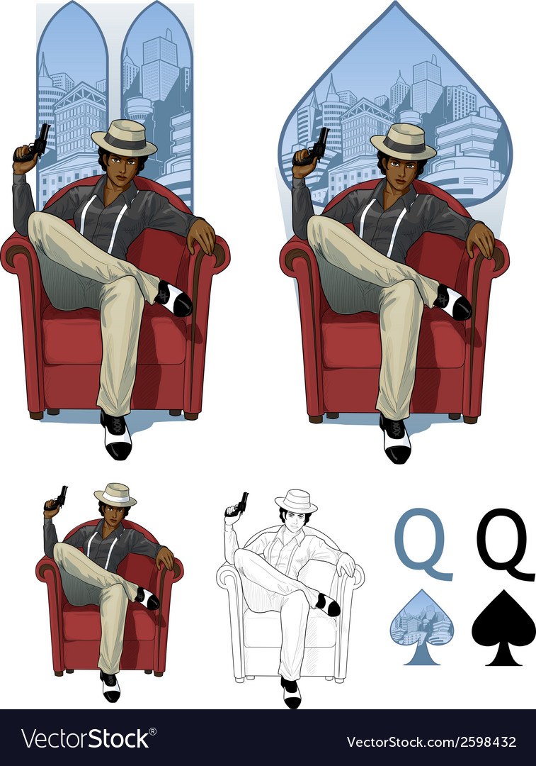 Queen of spades afroamerican mafioso woman mafia vector | Price: 3 Credit (USD $3)