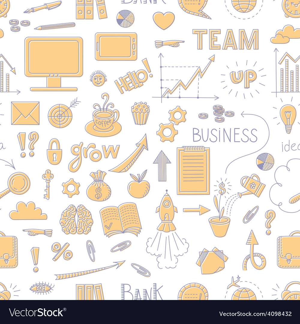 Seamless business doodle pattern vector | Price: 1 Credit (USD $1)