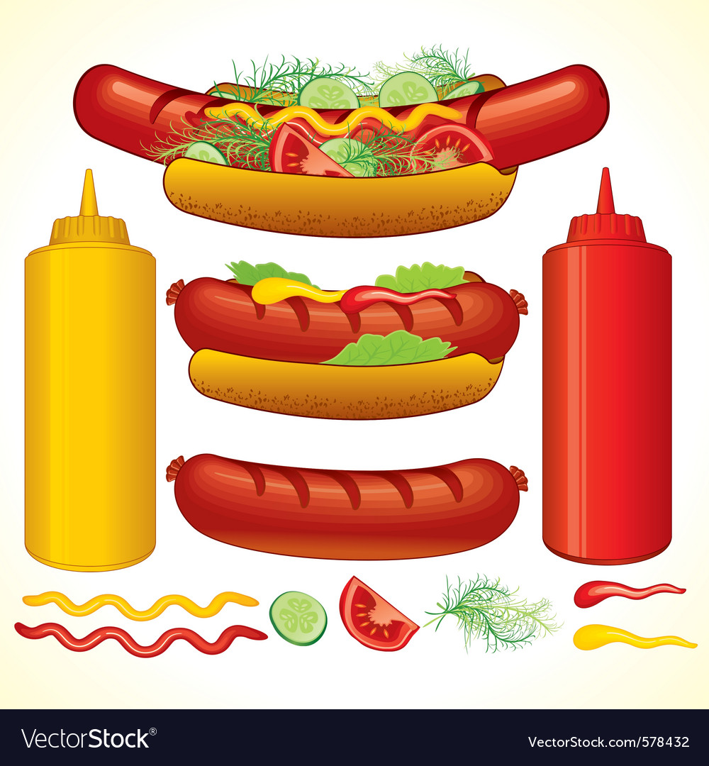 Set of fast food isolated elements vector | Price: 1 Credit (USD $1)