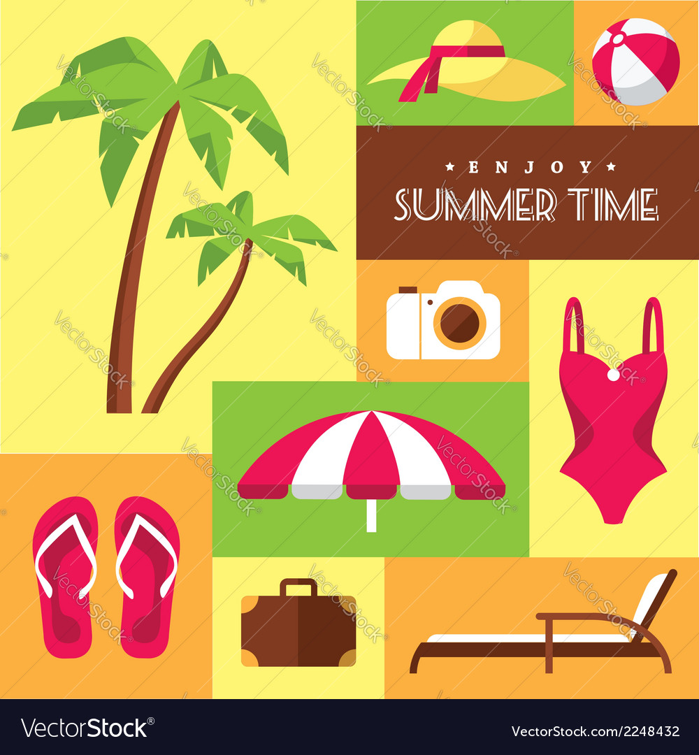 Summer icons set 2 vector | Price: 1 Credit (USD $1)