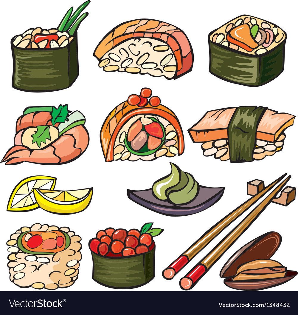 Sushi seafood icon set vector | Price: 3 Credit (USD $3)