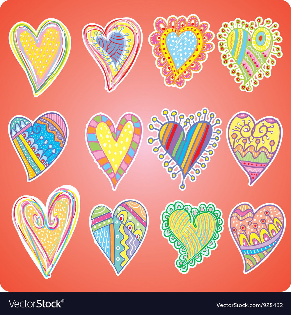 Twelve colored hearts vector | Price: 1 Credit (USD $1)