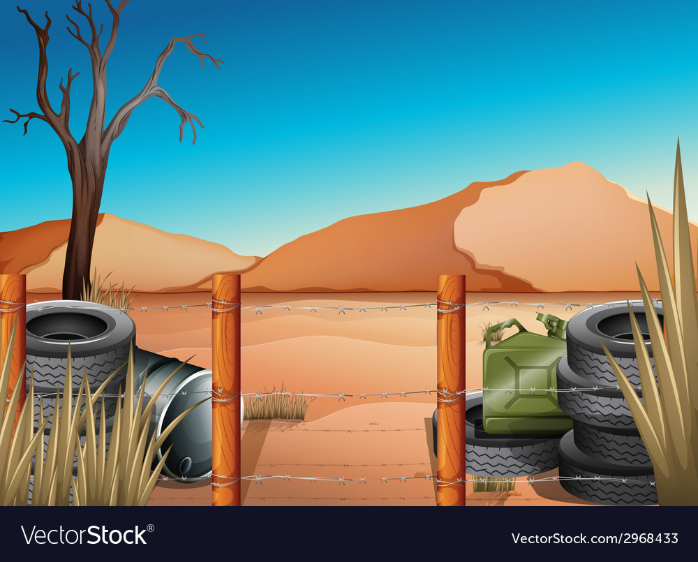 A desert with tires and a barbwire fence vector | Price: 1 Credit (USD $1)