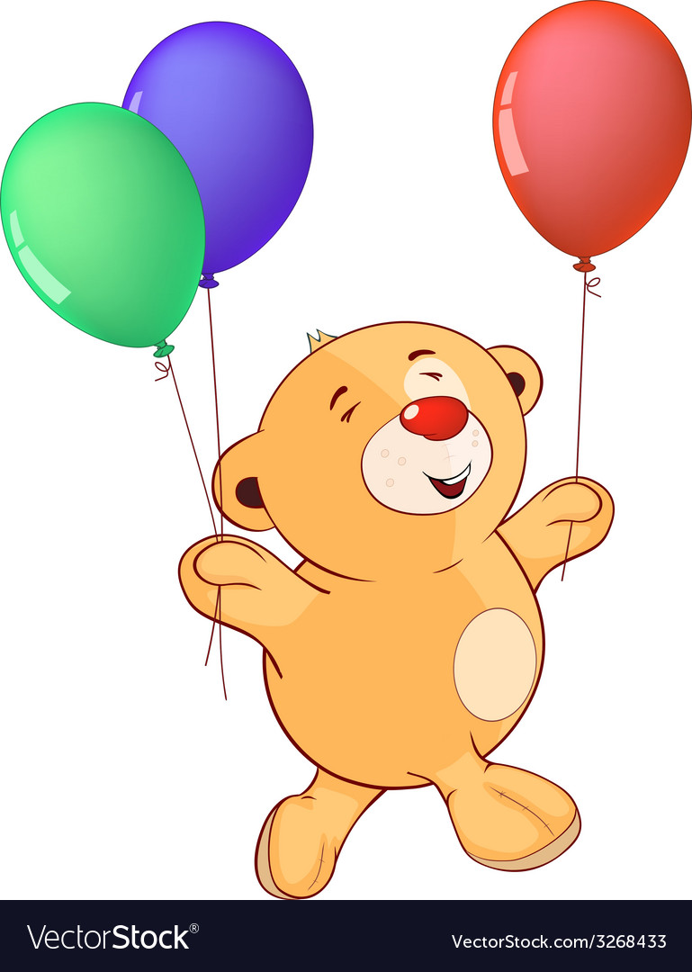 A stuffed toy bear cub with toy balloons cartoon vector | Price: 1 Credit (USD $1)