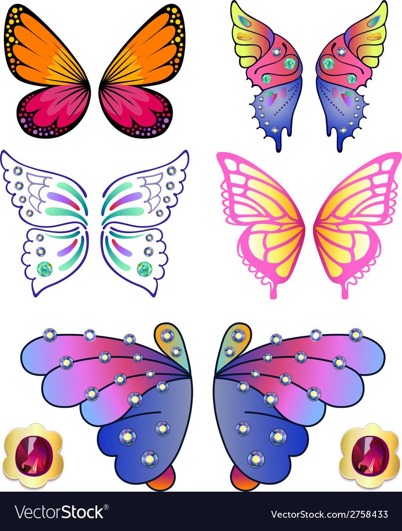 Butterfly colored gem wings 02 vector | Price: 1 Credit (USD $1)