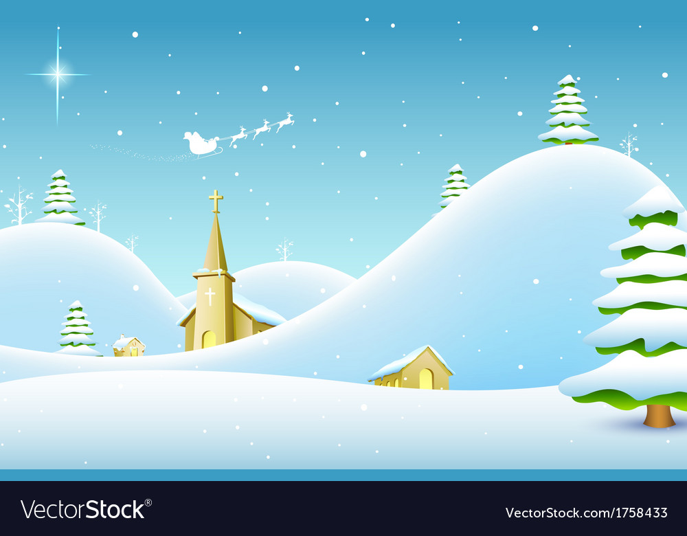 Christmas landscape vector | Price: 3 Credit (USD $3)