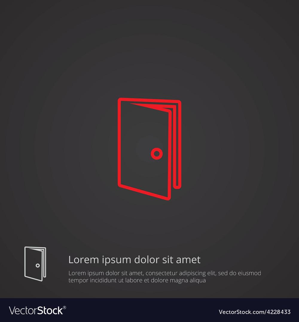 Door outline symbol red on dark background logo vector   Price: 1 Credit (USD $1)