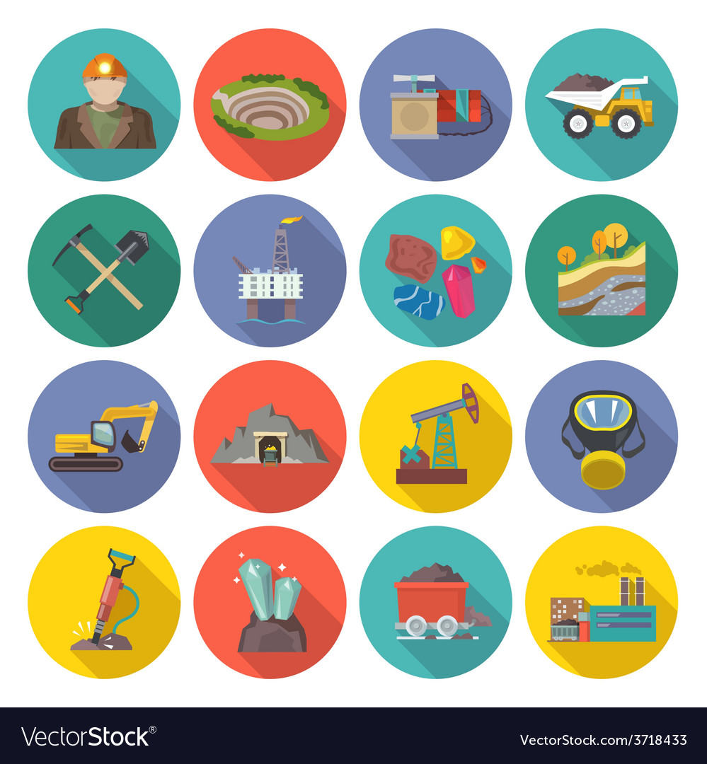 Mining icons flat vector | Price: 1 Credit (USD $1)