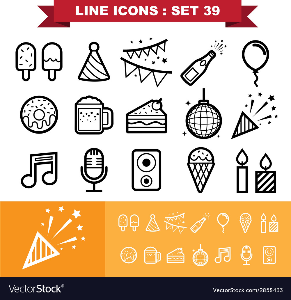 Party line icons set 39 vector | Price: 1 Credit (USD $1)