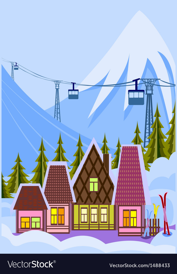 Small ski resort vector | Price: 1 Credit (USD $1)