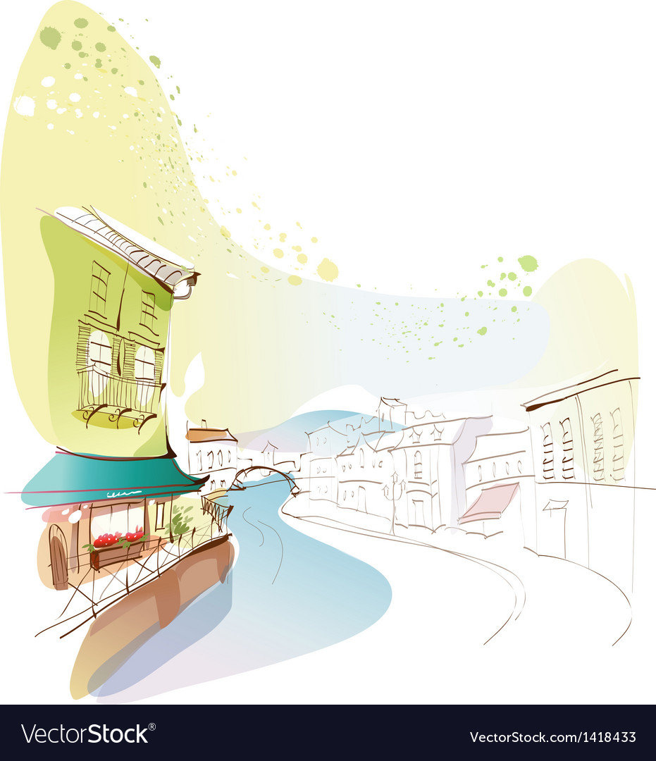 Townscape canal drawing vector | Price: 1 Credit (USD $1)