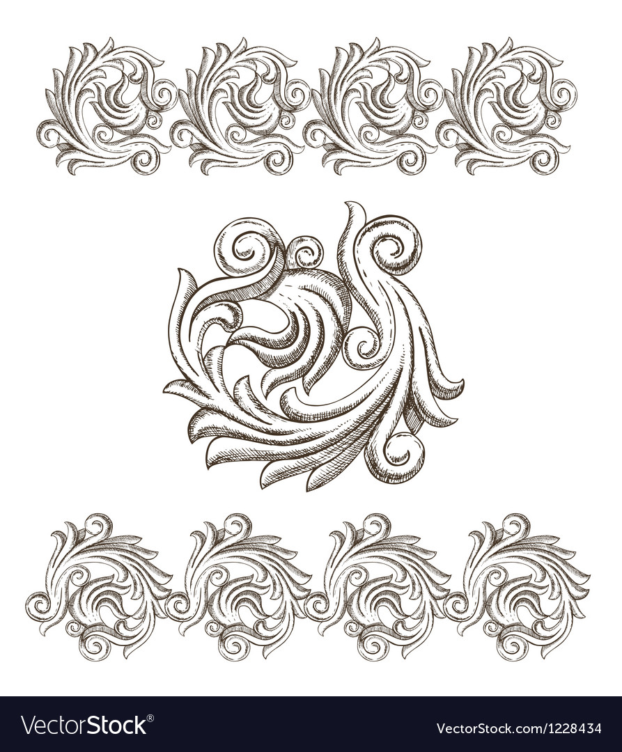 Baroque elements drawn by hand vector | Price: 1 Credit (USD $1)