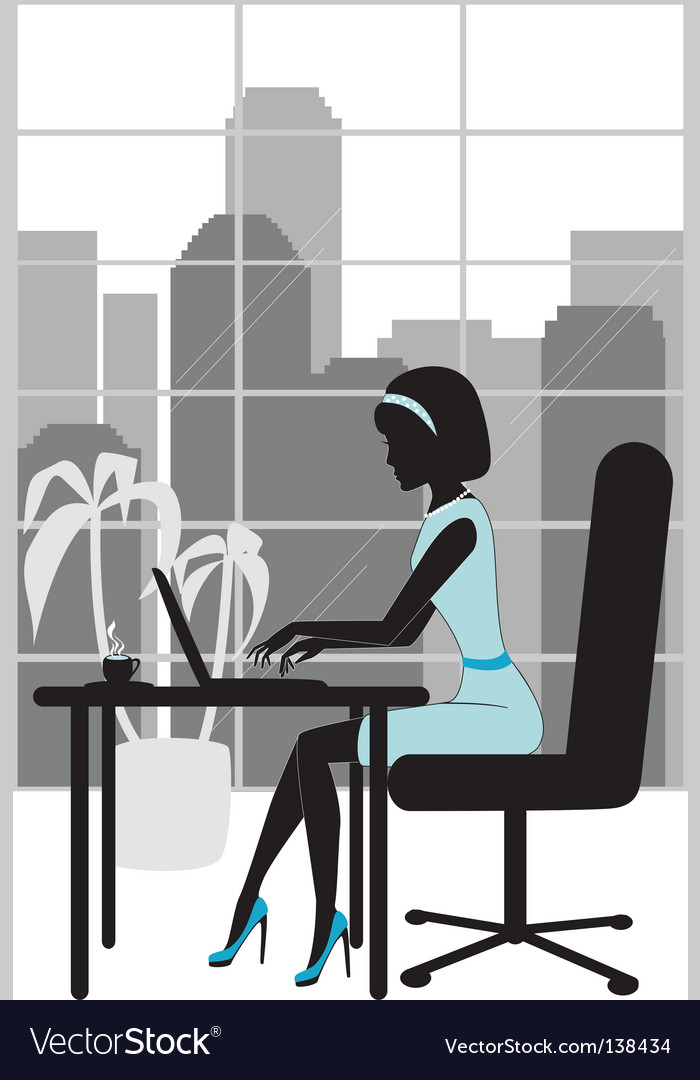 Business woman in office silhouette vector | Price: 1 Credit (USD $1)