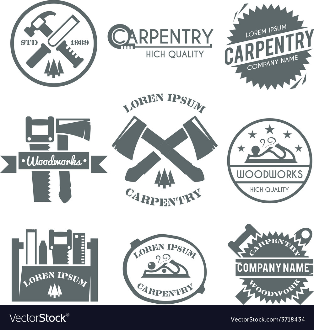 Carpentry label set vector | Price: 1 Credit (USD $1)