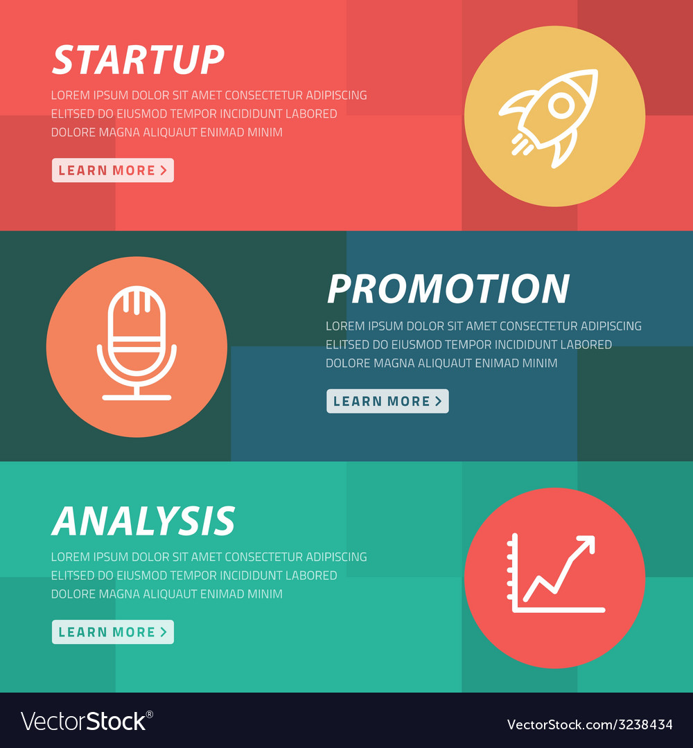 Flat design concept for startup promotion analysis vector | Price: 1 Credit (USD $1)