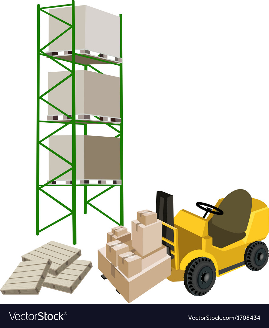 Forklift truck loading a shipping box in warehouse vector | Price: 1 Credit (USD $1)