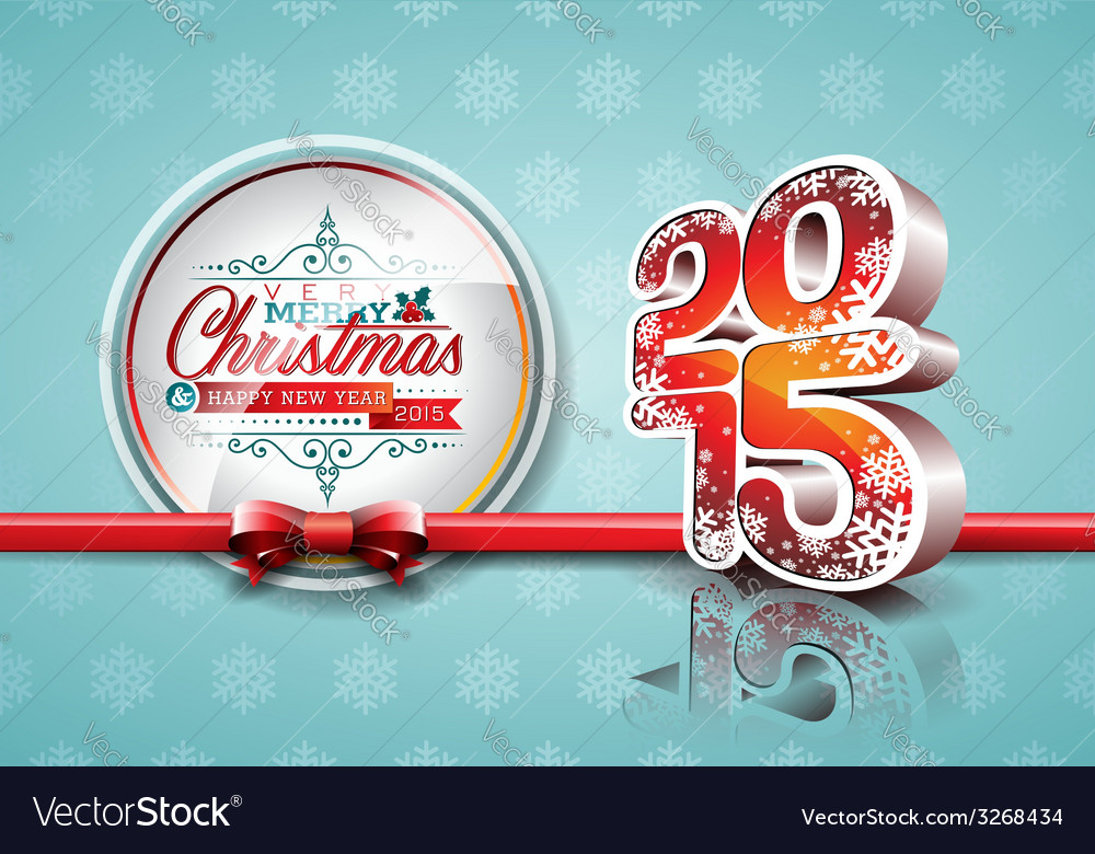Happy new year 2015 red celebration background vector | Price: 1 Credit (USD $1)