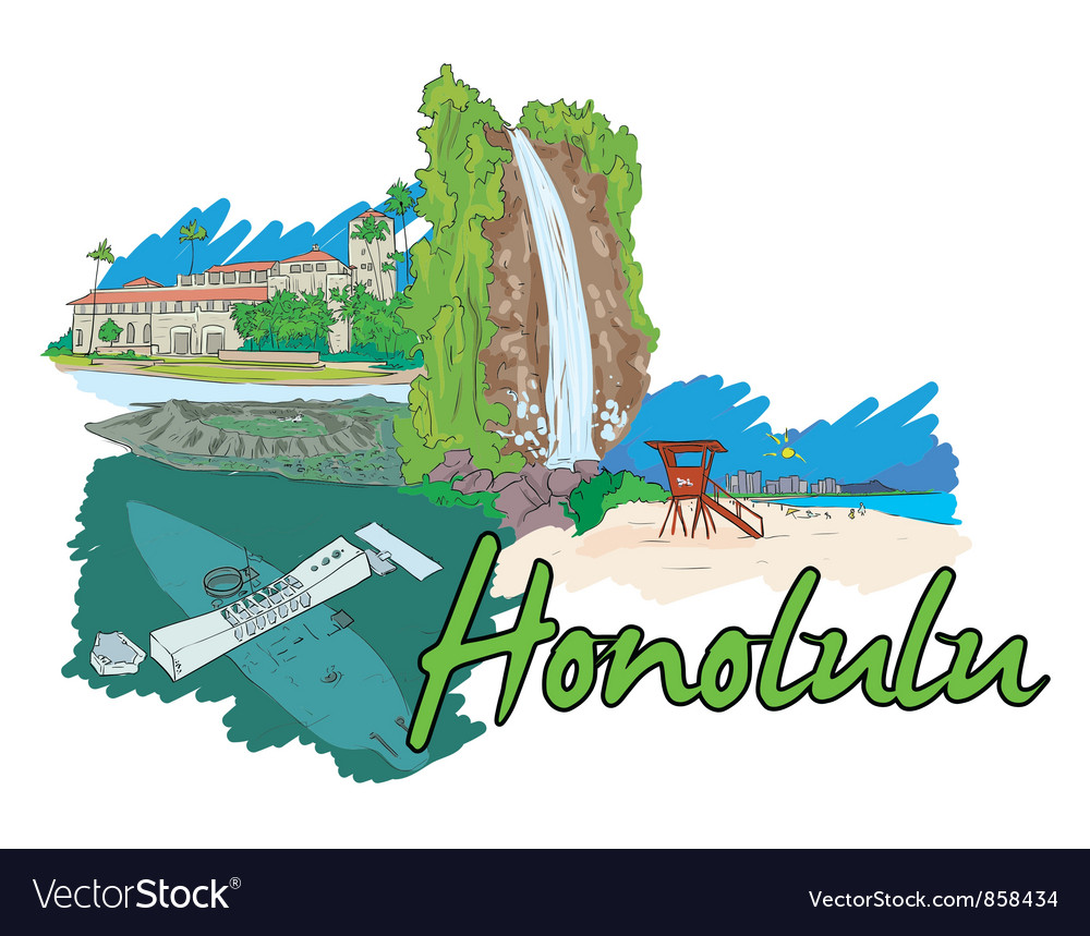 Honolulu doodles vector | Price: 1 Credit (USD $1)