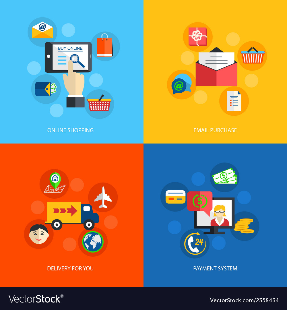 Internet shopping flat vector | Price: 1 Credit (USD $1)