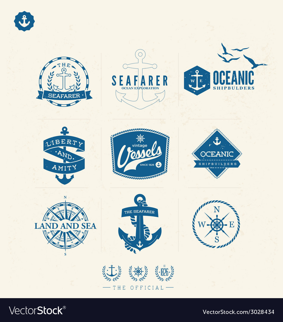 Nautical badges and labels vector | Price: 1 Credit (USD $1)