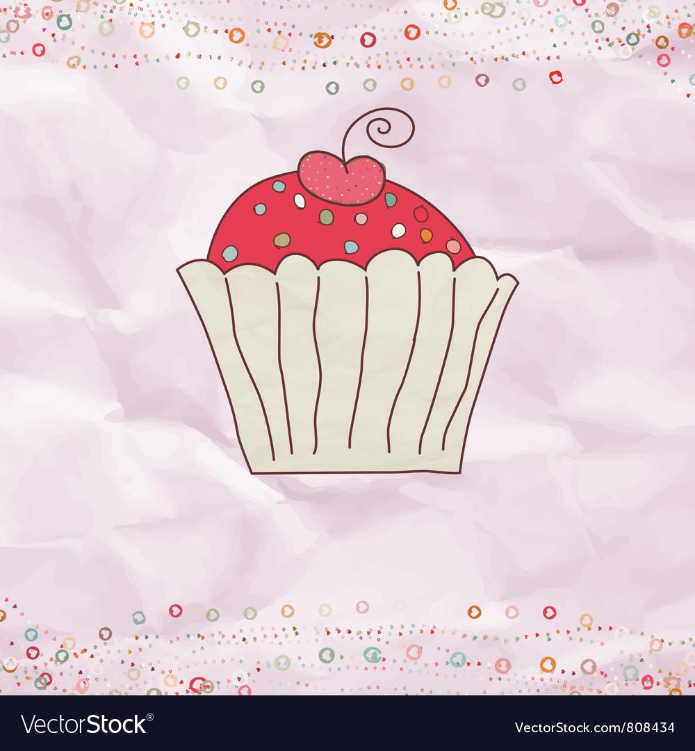 Retro valentines cupcake card vector | Price: 1 Credit (USD $1)