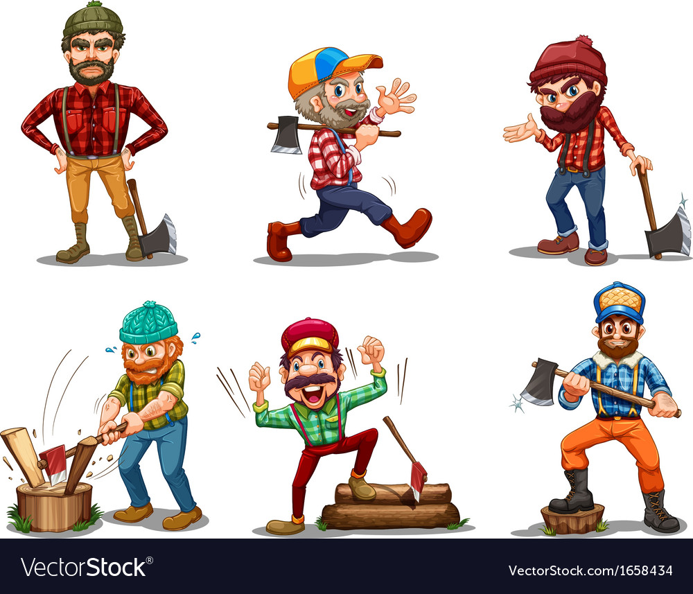 Six men with axes vector | Price: 3 Credit (USD $3)