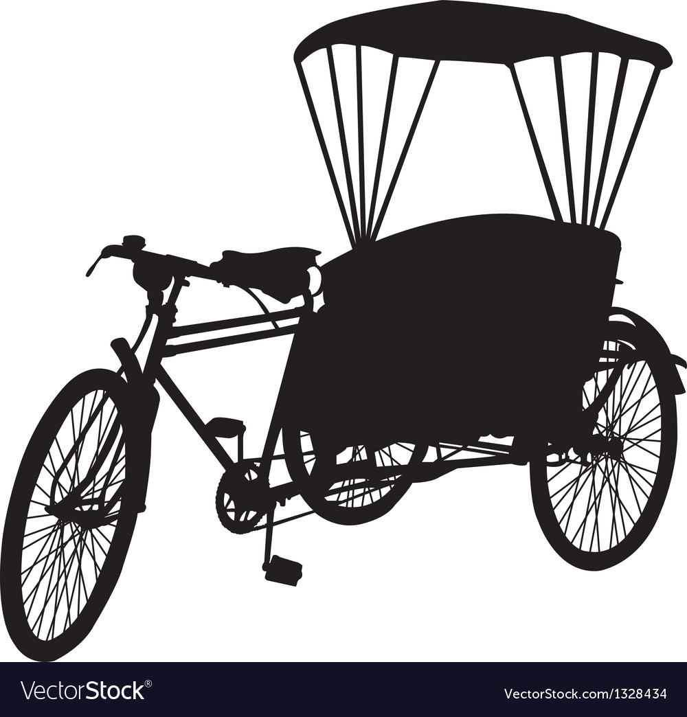 Three wheel bicycle taxi silhouette vector | Price: 1 Credit (USD $1)