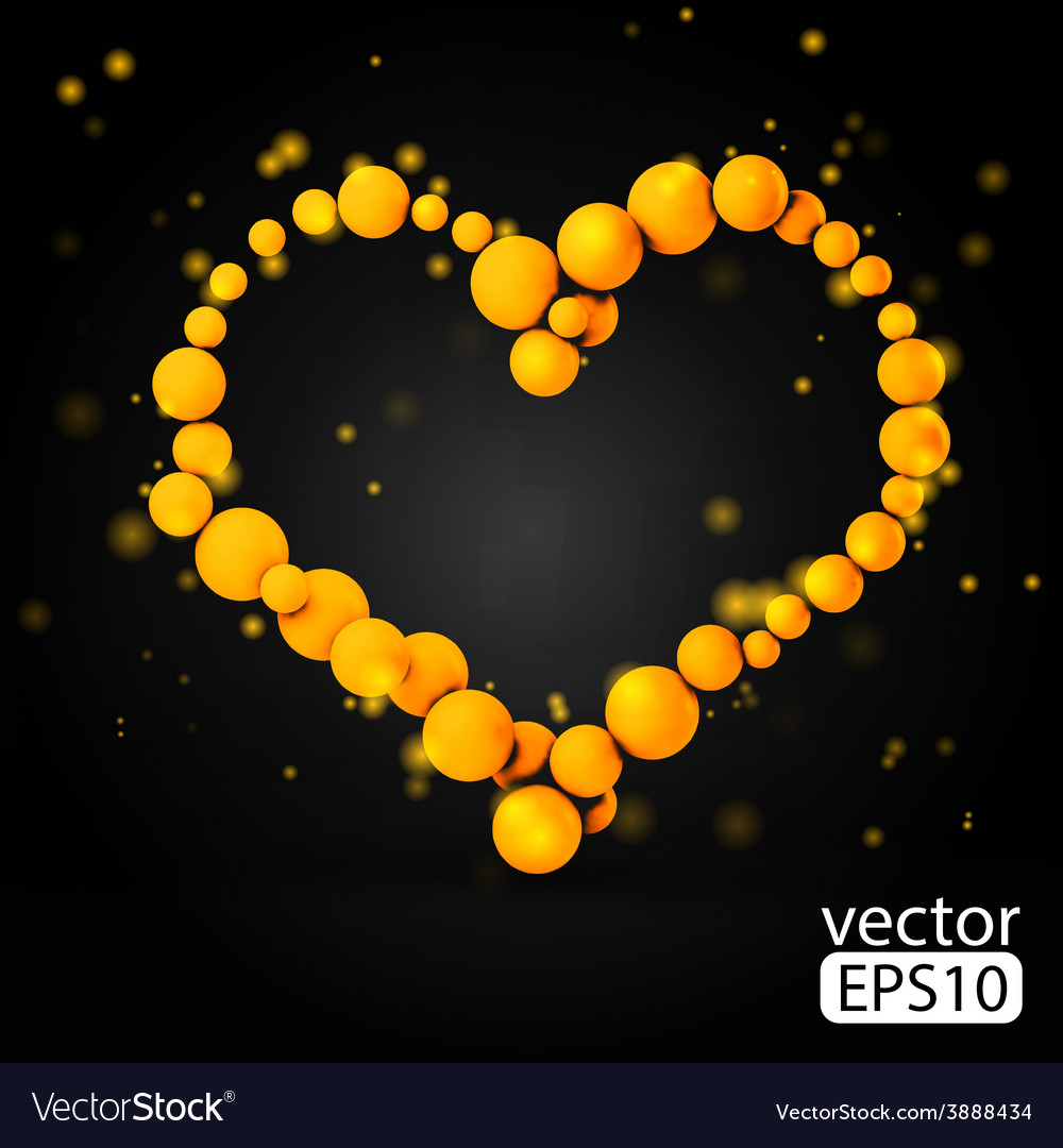 Valentines day card with sphere heart black vector