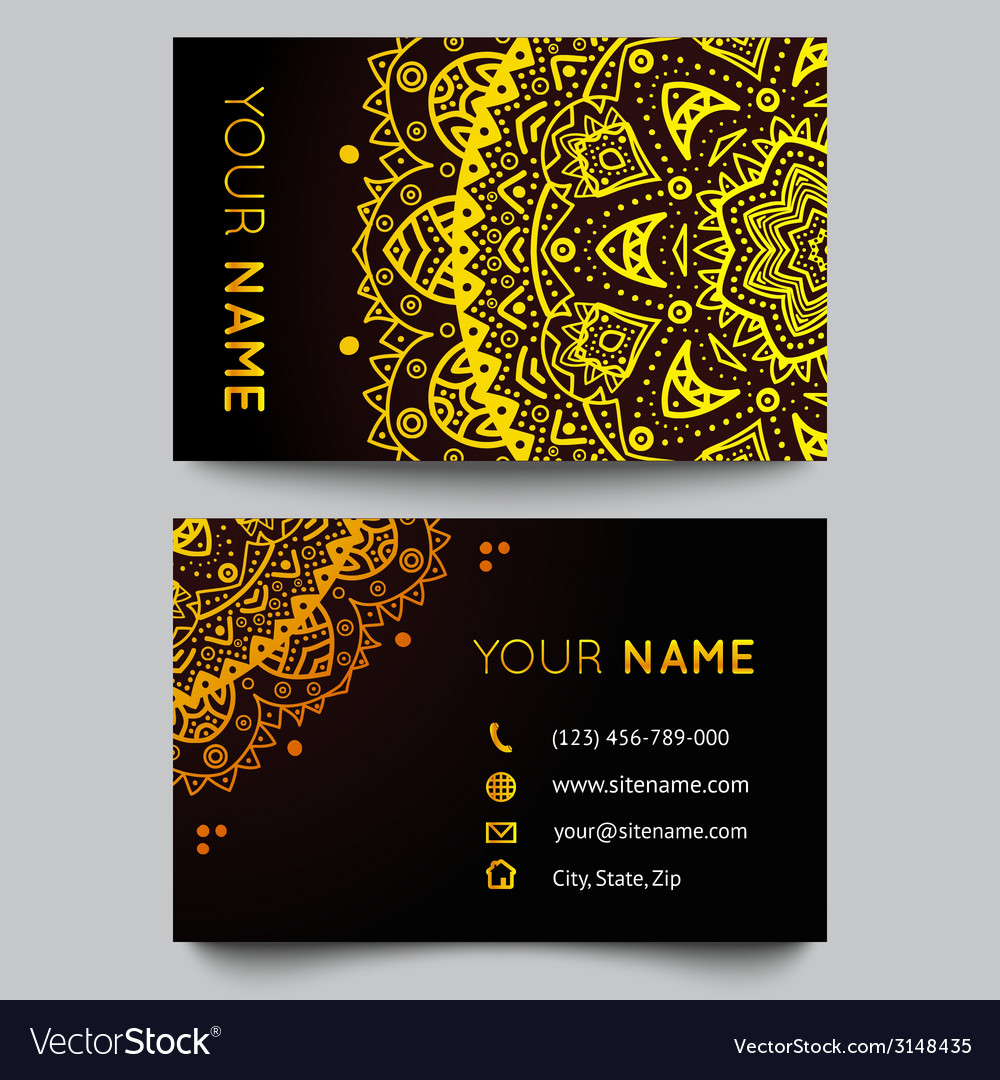 Business card template black and golden beauty vector | Price: 1 Credit (USD $1)