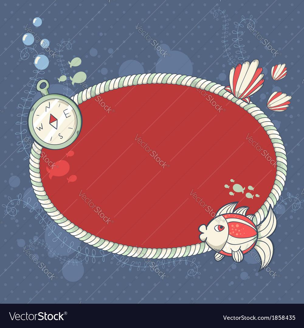 Cute nautical summer sea card vector | Price: 1 Credit (USD $1)