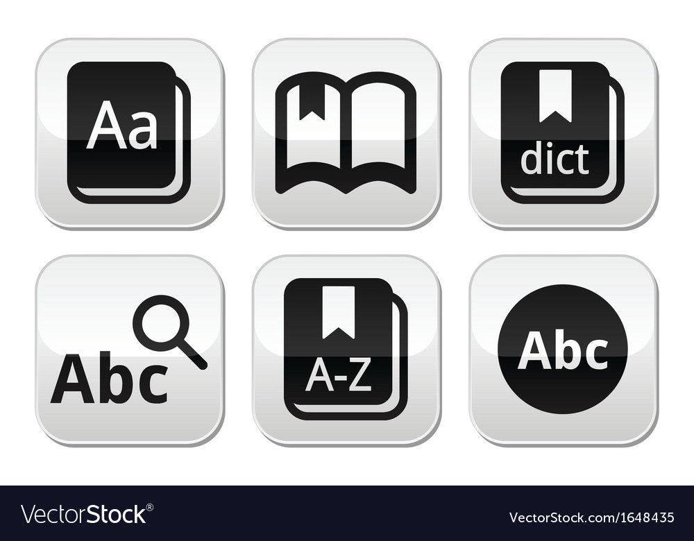 Dictionary book buttons set vector | Price: 1 Credit (USD $1)