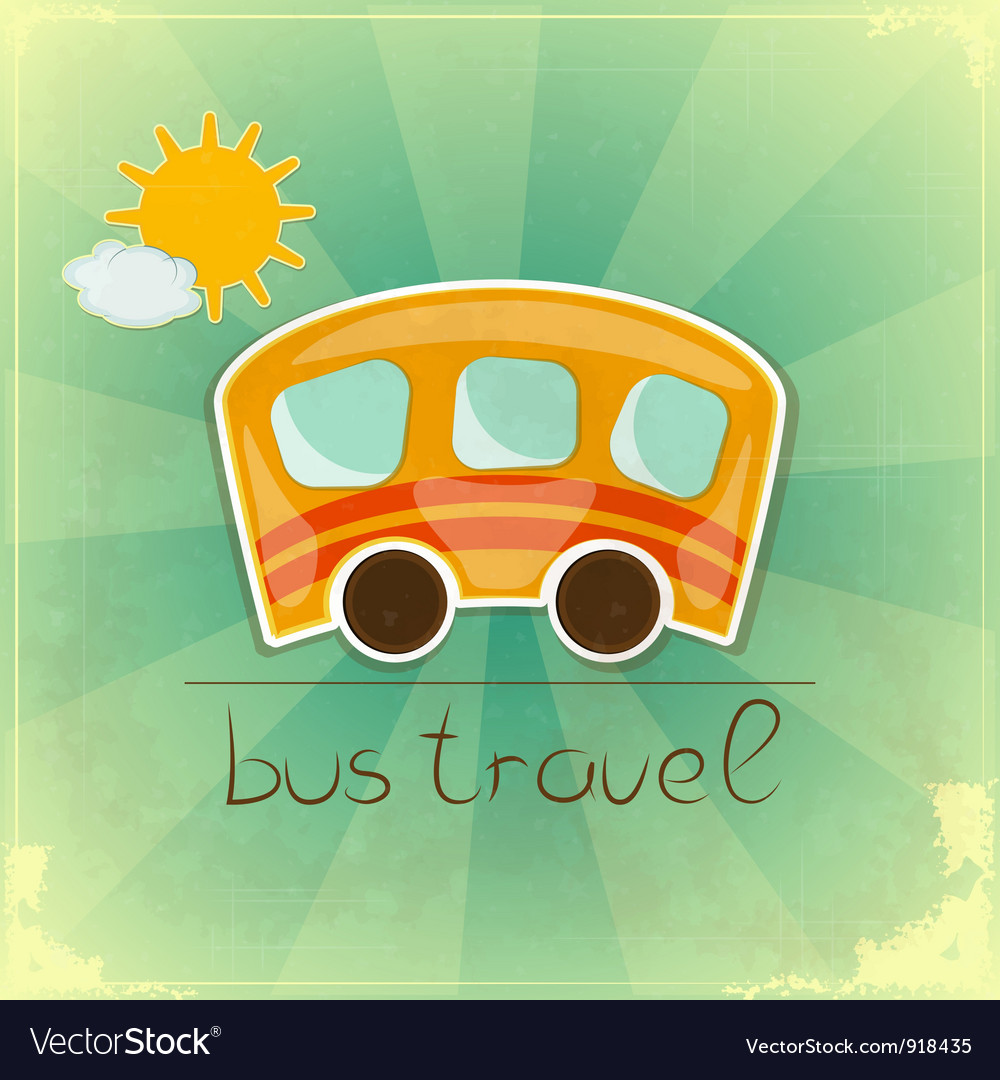 Fun bus travel card vector | Price: 1 Credit (USD $1)
