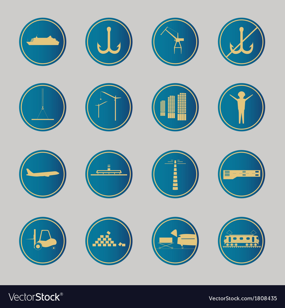 Industrial and logistic blue icons vector | Price: 1 Credit (USD $1)