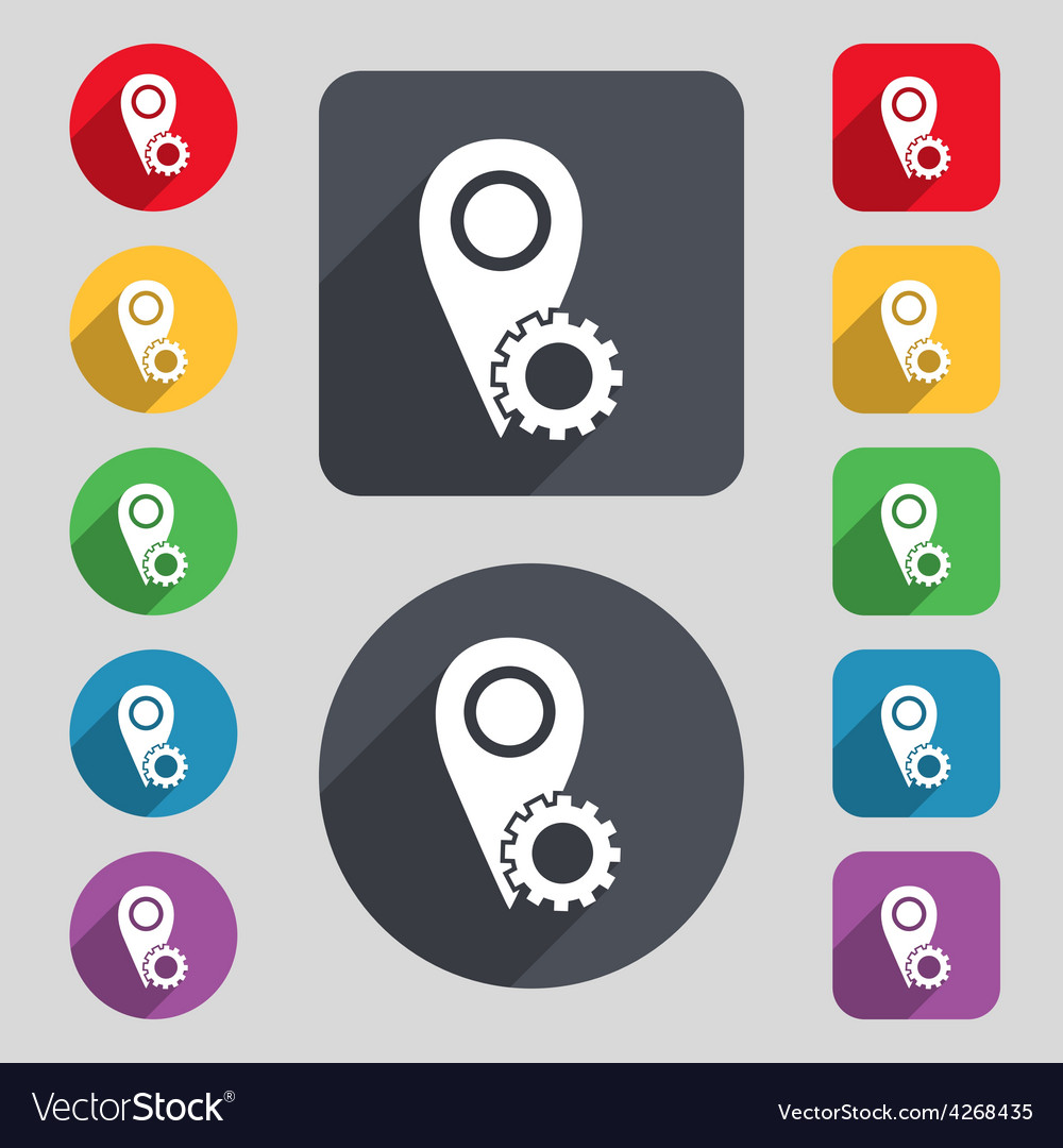 Map pointer setting icon sign a set of 12 colored vector | Price: 1 Credit (USD $1)