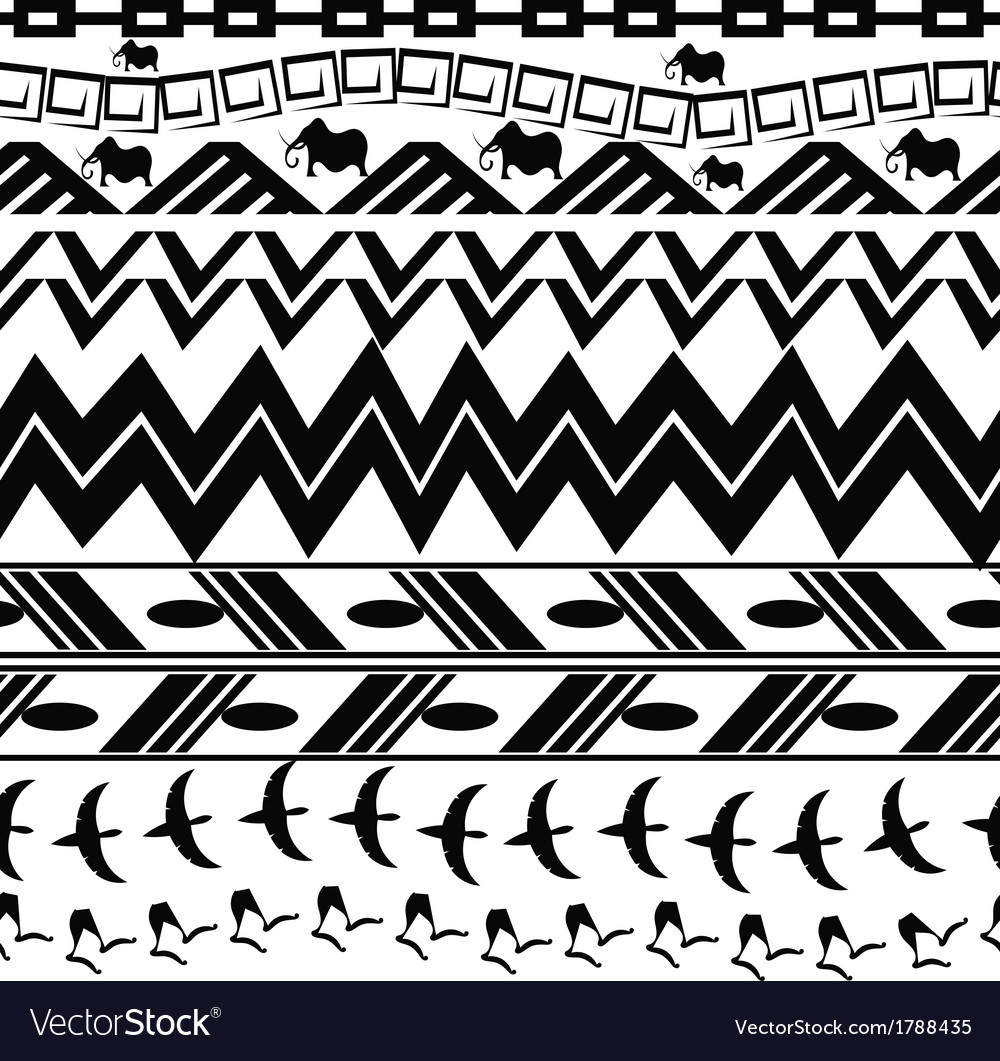 Monochrome seamless texture in tribal style vector | Price: 1 Credit (USD $1)