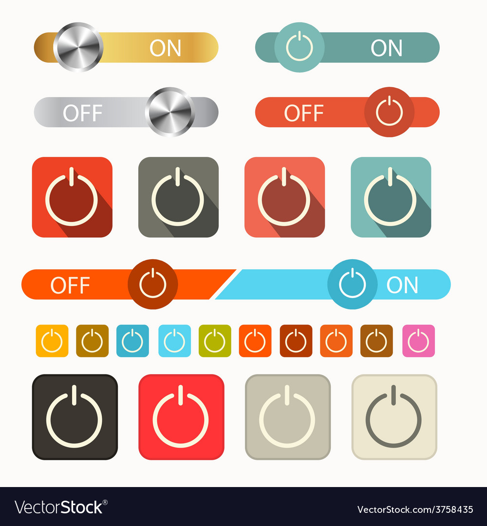 On off symbols set isolated on white background vector | Price: 1 Credit (USD $1)