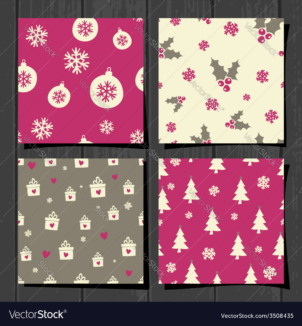 Retro style christmas seamless patterns set vector | Price: 1 Credit (USD $1)