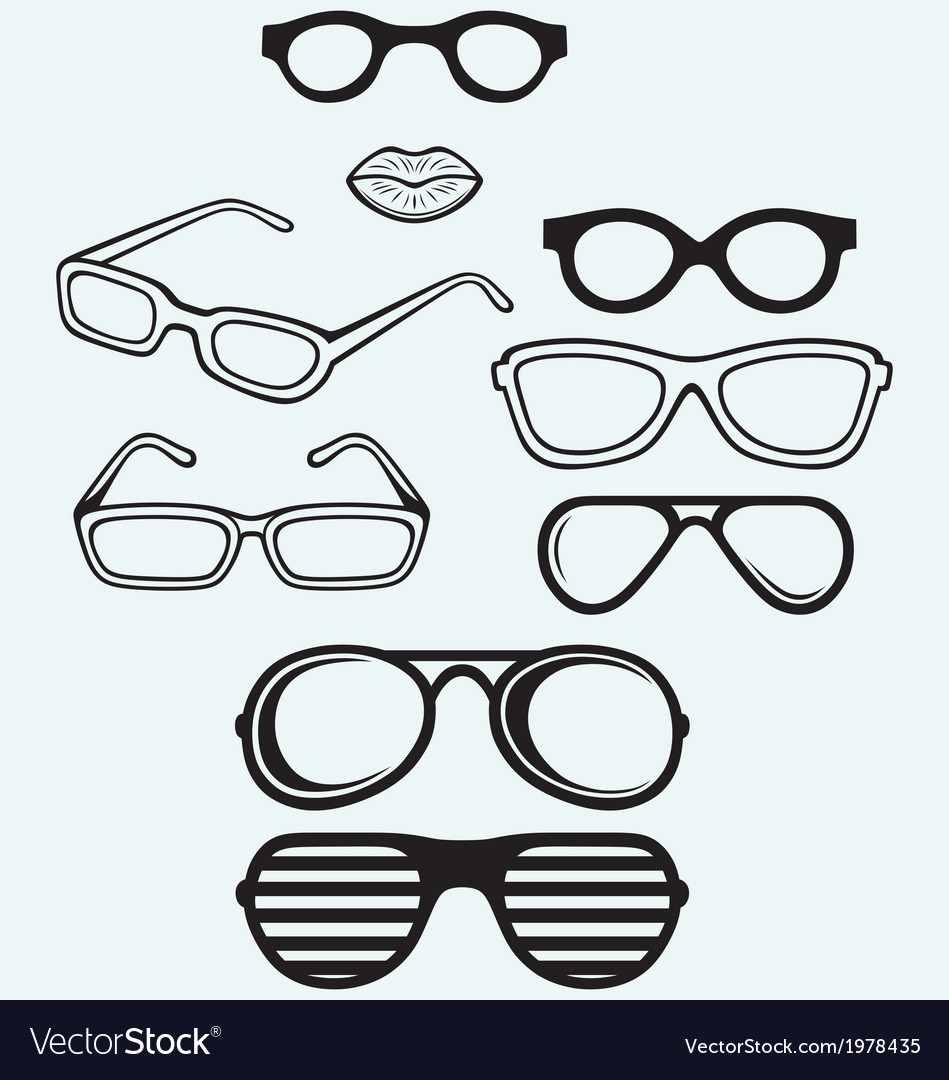 Set glasses and lips silhouettes vector | Price: 1 Credit (USD $1)