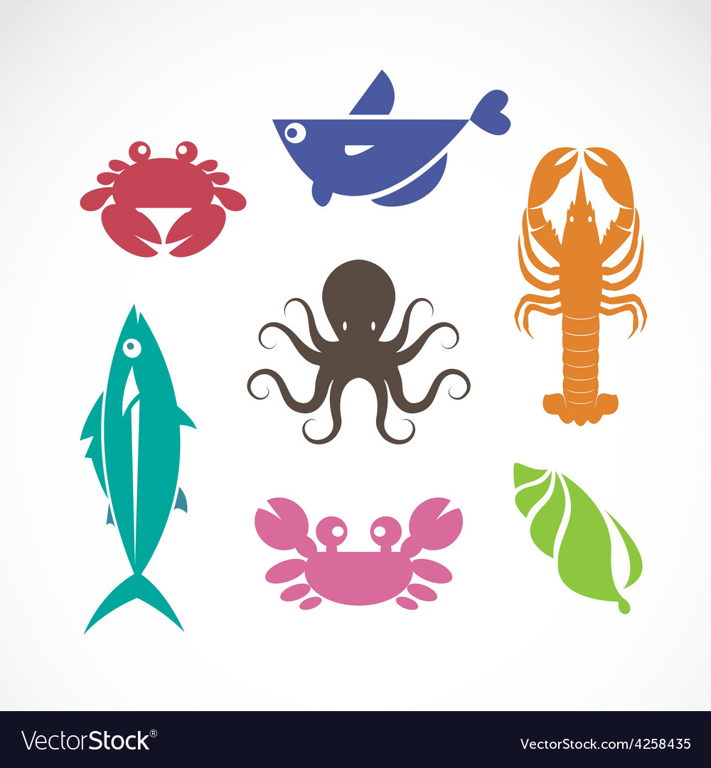 Set of seafood symbols vector | Price: 1 Credit (USD $1)