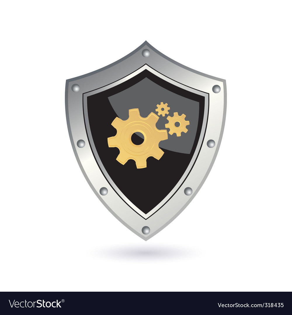 Shield with gears vector | Price: 1 Credit (USD $1)