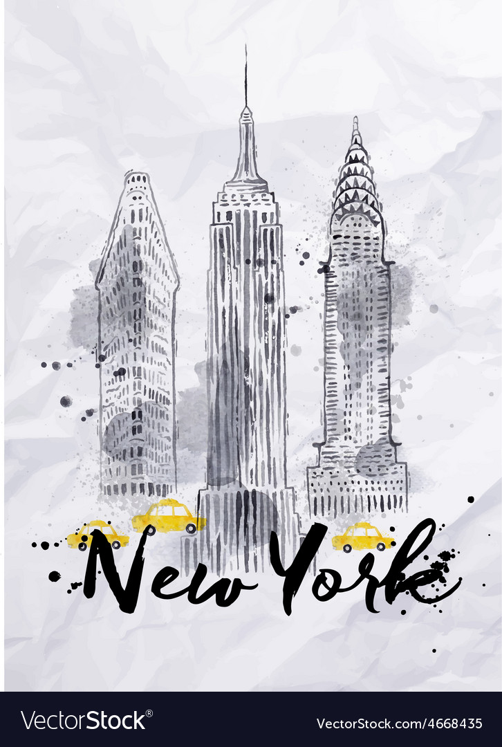 Watercolor new york buildings vector | Price: 1 Credit (USD $1)